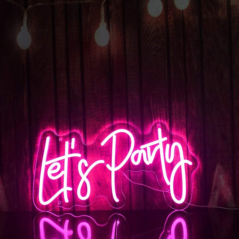 LED Custom Neon Sign, Neon Art Decorative Lights, Neon Sign Shaped Decor Light,Led Neon Sign Wall Light for Home, Kids Room, Bar, Birthday Party, Christmas,Wedding Decor (Let's Party)