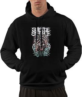 NNJD Men Suicide Silence Logo Funny Hoodie Sweatshirt Kangaroo Black
