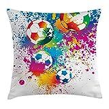 ABAKUHAUS Fútbol Funda para Almohada, Salpicaduras de Color sobre Pelotas de Fútbol Copa Mundial Campeonato Arte Atleta, Decorativo, Estampado en Ambos Lados, 40 x 40 cm, Multicolor