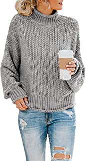 SVALIY Womens Oversized Turtlenecks Sweaters Batwing Long Sleeve Chunky Pullover Knit Jumper
