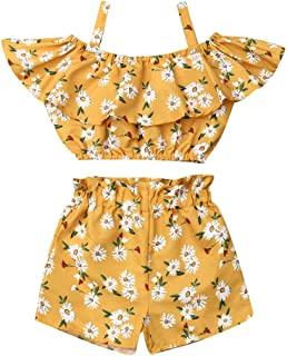 2Pcs Toddler Baby Girls Clothes Halter Ruffle Crop Top Floral Short Pants Summer Outfits Clothing (3-4T,Yellow Daisy)