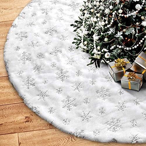 HusDow 78cm Weihnachtsbaumdecke, Weiß Plüsch Weihnachtsbaumdecke Rund Tannenbaum-Unterlage Weihnachtsbaumteppich Ornamente Dekoration für Weihnachten