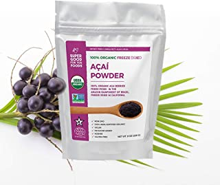 Super Good For You Foods Organic Freeze Dried Acai Berry Powder, Gluten-Free, Non-GMO + Vegan, 8 Ounce Bag