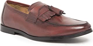 HATS OFF ACCESSORIES Genuine Leather Burgundy Loafers with Frill