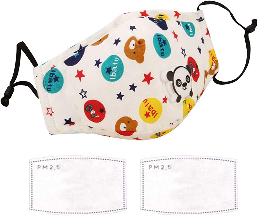 Large discharge sale Kids Mask + 2 PCS Filters Cartoon Columbus Mall Cute Washable Cotton Activated