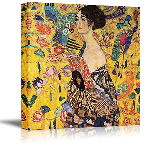 Woman with Fan by Gustav Klimt - Canvas Wall Art Famous Fine Art Reproduction| World Famous Painting Replica on Wrapped Canvas Print Wood Framed & Ready to Hang - 24' x 24'