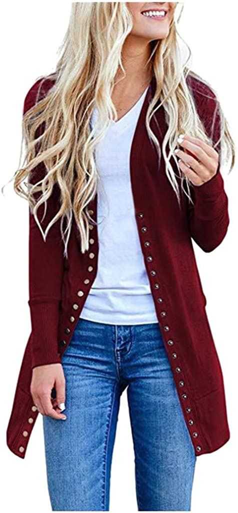 Women's Long Sleeve Snap Button Down Solid Color Knit Ribbed Neckline Cardigans Jacket