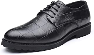 2019 Mens New Lace-up Flats Men's Business Oxford Shoes, Casual Classic Grid Pattern Pointed Lace up British Style Leisure Shoes