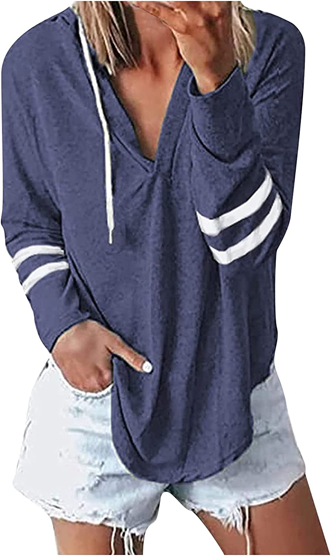 Kanzd Womens Blouse Long Sleeve Hoodies Fashion Stripe Sleeve Design Casual V-Neck Basic Hooded Sweatshirt Tops Blouse