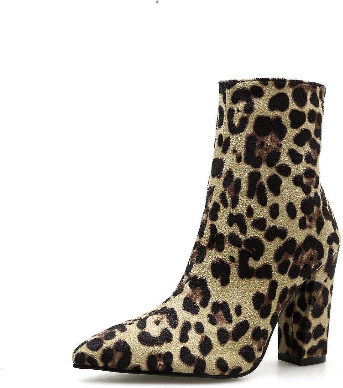 Lieyliso Damen Stiefel sexy Schlangenmuster spitz dick dick dick mit Stiefeletten (Farbe   Leopard, Größe   38)  a2905f