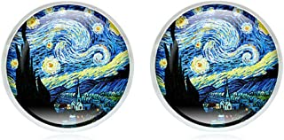 fero Van Gogh Painting Stud Earrings The Starry Night Glass Dome Post Fashion Jewelry