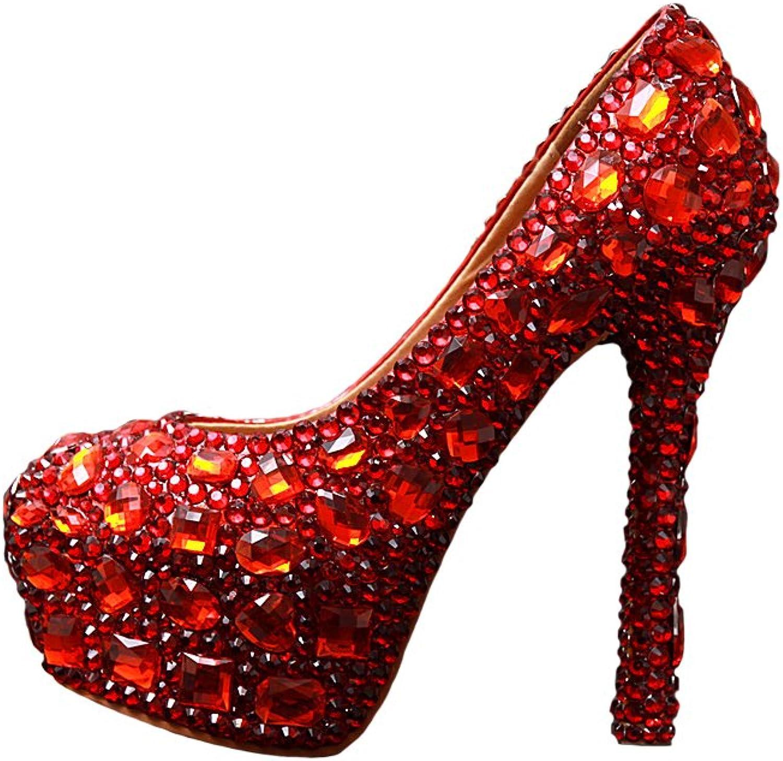 BoShi Women's Crystal High Heel Pump Party Bridal shoes