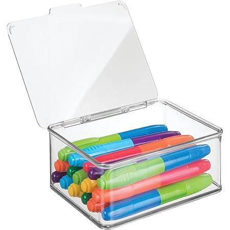 mDesign Boite de Rangement à Couvercle (Petite) - Caisse de Rangement Transparente – bac de Rangement Pratique en Plastique résistant