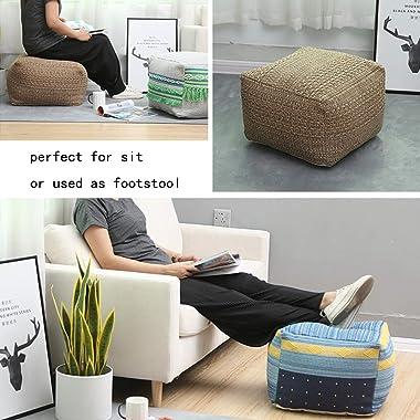 Riarevt Unstuffed Pouf, Ottoman Footstool Foot Rest, Square Pouf Ottoman Boho, Soft Knitted Cotton Linen Pouf, Poufs for Livi