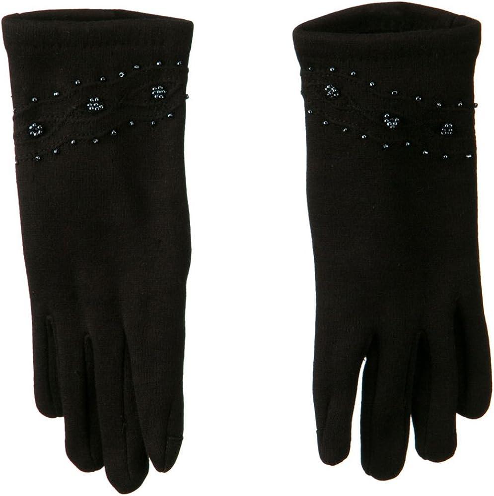 Bead and Stitching Detail Glove - Black W21S32B
