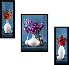 SAF UV Textured Flower Print Framed Art Print Painting Set of 3 for Home Decoration – Size 35 x 2 x 50 cm