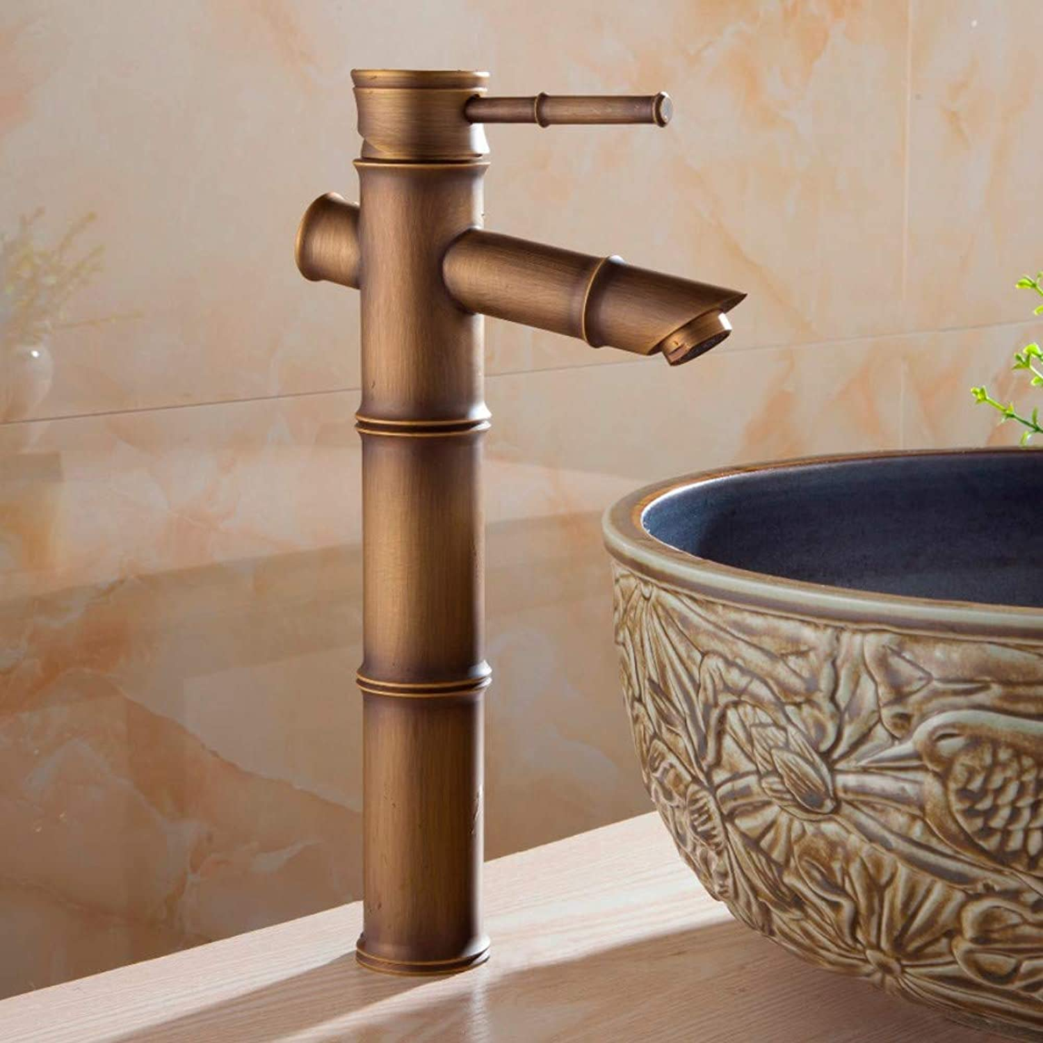Ayhuir Basin Faucet Antique Brass Bamboo Waterfall Bathroom Sink Faucet Single Lever Deck Bath Toilet Mixer Water Tap Wc Taps