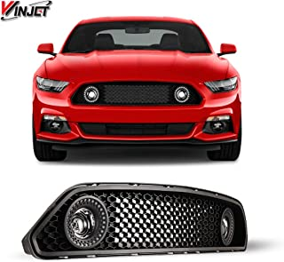 Winjet WJ70-0613-FL Halo Ring DRL Upper Grille with LED Fog Lights for 2015-2017 Ford Mustang S550 (Eco Boost, V6, GT) Black
