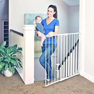 "Toddleroo by North States 47.85"" wide Tall Easy Swing & Lock Gate: Ideal for standard stairways. Hardware mount. Fits openings 28.68"" - 47.85"" wide (36"" Tall, Soft White)"