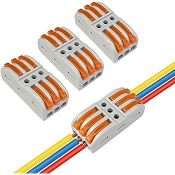 Aiqeer 30 Pi/èces SPL-2 // SPL-3 Levier-/Écrou Fil Connecteurs Set Levier Multicolore Compact Connecteur Ressort Bornier Conducteur Compact Fils Connecteurs