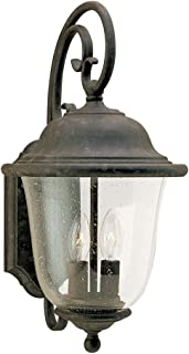 Sea Gull Lighting 8460-46 Trafalgar Two-Light Outdoor Wall Lantern with Clear Seeded Glass Shade, Oxidized Bronze Finish