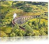 Pixxprint Eisenbahnviadukt in Schottland als Leinwandbild   Größe: 100x70   Wandbild  Kunstdruck   fertig bespannt