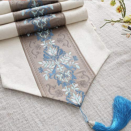 KRXLL Rustikaler Blumentischläufer Weißer Tischdeckchen-Sticktischläufer-Blau_35 * 210 cm
