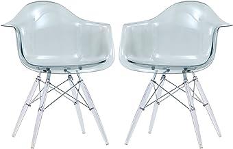 2Pcs Transparent Chair Acrylic Dining Room Chair Simple Modern Leisure Clear Scandinavian Chair Hotel Armchair Cafe Office...