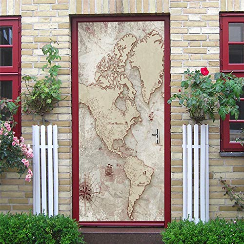 KJKL 3D Door Stickers Wall Stickers Interior Doors Sticker Decal Art World map nautical chart Self Adhesive Door Mural Removable Waterproof Home Decoration Living Room Bedrooms 77x200cm