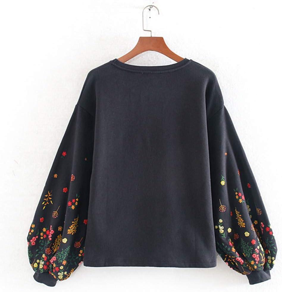 NJKHN Pull Femme Slim Imprimé Sweatshirts Femmes De La Mode O Cou en Peluche Sweat Femmes Élégant À Long Puff Sweatshirts Femme Dames XS