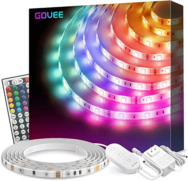 Led Strip Lights Govee 16 4Ft Waterproof RGB Light Strip Kits With Remote For Room Bedroom TV Kitchen Desk Color Changing Led Strip SMD5050 With 3M Adhesive And Clips 12V Power Supply