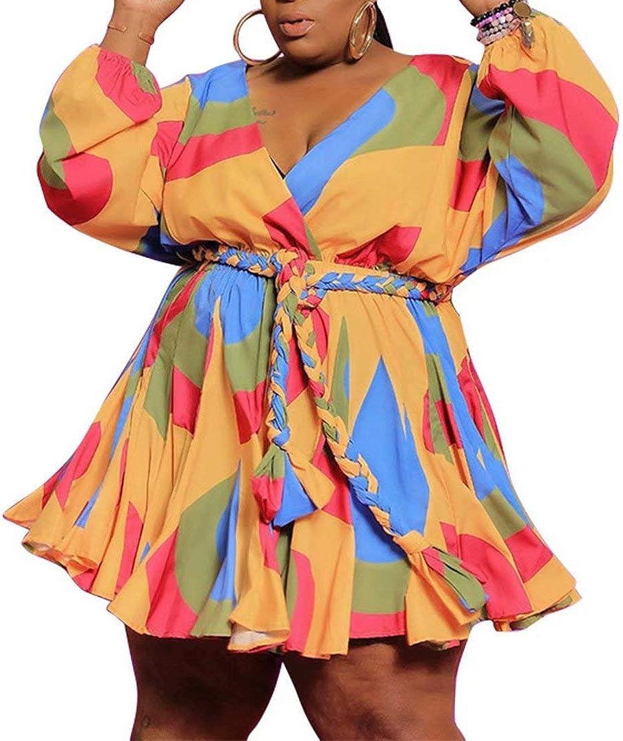IyMoo Women's Plus Size Cute Shift Dress Belted Ruffle Wrap V Neck Swing Tunic Mini Dress