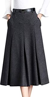 Tanming Womens Winter High Waist A-Line Pleated Wool Midi Skirt with Belt Loops