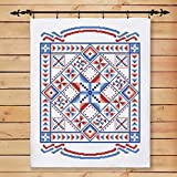 Herrschners American Traditions Lap Quilt Stamped Cross-Stitch Kit