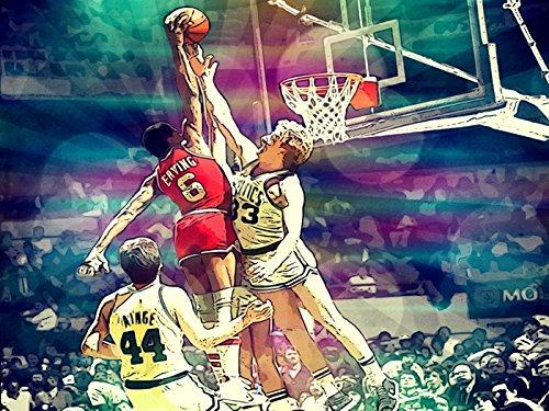 Julius Erving Dunk on Larry Bird Awesome Vintage Retro Painting Pop Art Sixers vs Celtics Dr. J 76ers Basketball 24x18 Poster Print