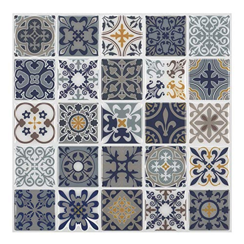 Tic Tac Tiles 25cm x 25cm Peel and Stick 3D Tile Sticker Self Adhesive Stick on Wall Tile for Kitchen Backsplash and Bathroom in Moroccan Rano