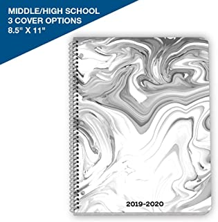 Dated Middle or High School Student Planner 2019-2020 Academic Year, 8.5x11 inch Matrix Style Datebook with Sagamore Marble Cover