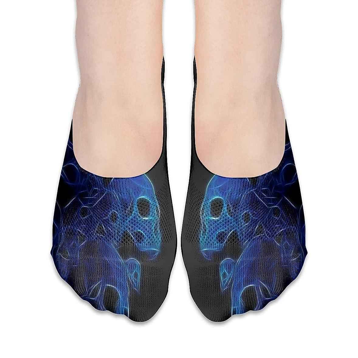重力ラブ潤滑する女性の青い頭蓋骨の低合金ローカットコットンボート隠し目に見えない靴下