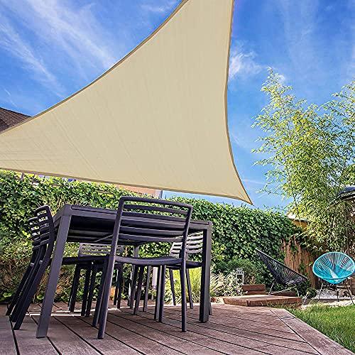 IOAOI Sonnensegel Dreieck Rechtwinklig, 3m x 3m x 4.3m Sonnensegel Wasserdicht 98{517628c45e0fa9a54079fb36993b2f06598f09d460bfa42814dc5bcc5d7090b2} UV Schutz Markise für Garten Balkon und Terrasse - Creme