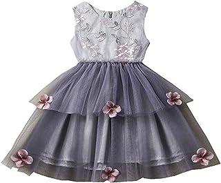 02f9a88cdac11 CYICis Toddler Bébé Filles Enfants Tulle Tutu Robe Princesse sans Manches  Bowknot Floral Robes Élégant pour
