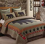 Virah Bella Bear and Paw 3 Piece Full/Queen Quilt Set - 1 Quilt and 2 Standard Shams with Bear and Paw Print Pattern