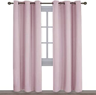 NICETOWN Nursery Essential Thermal Insulated Solid Grommet Top Blackout Curtains/Drapes (1 Pair, 42 x 84 inches in Baby Pink)