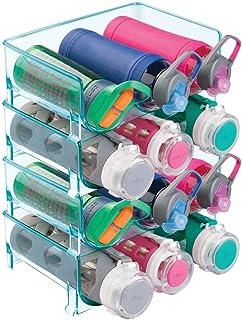 mDesign Juego de 4 organizadores de botellas – Prácticos estantes para botellas que organizan en total 12 botellas de vino o de agua – Botelleros apilables de plástico libre de BPA – azul mar