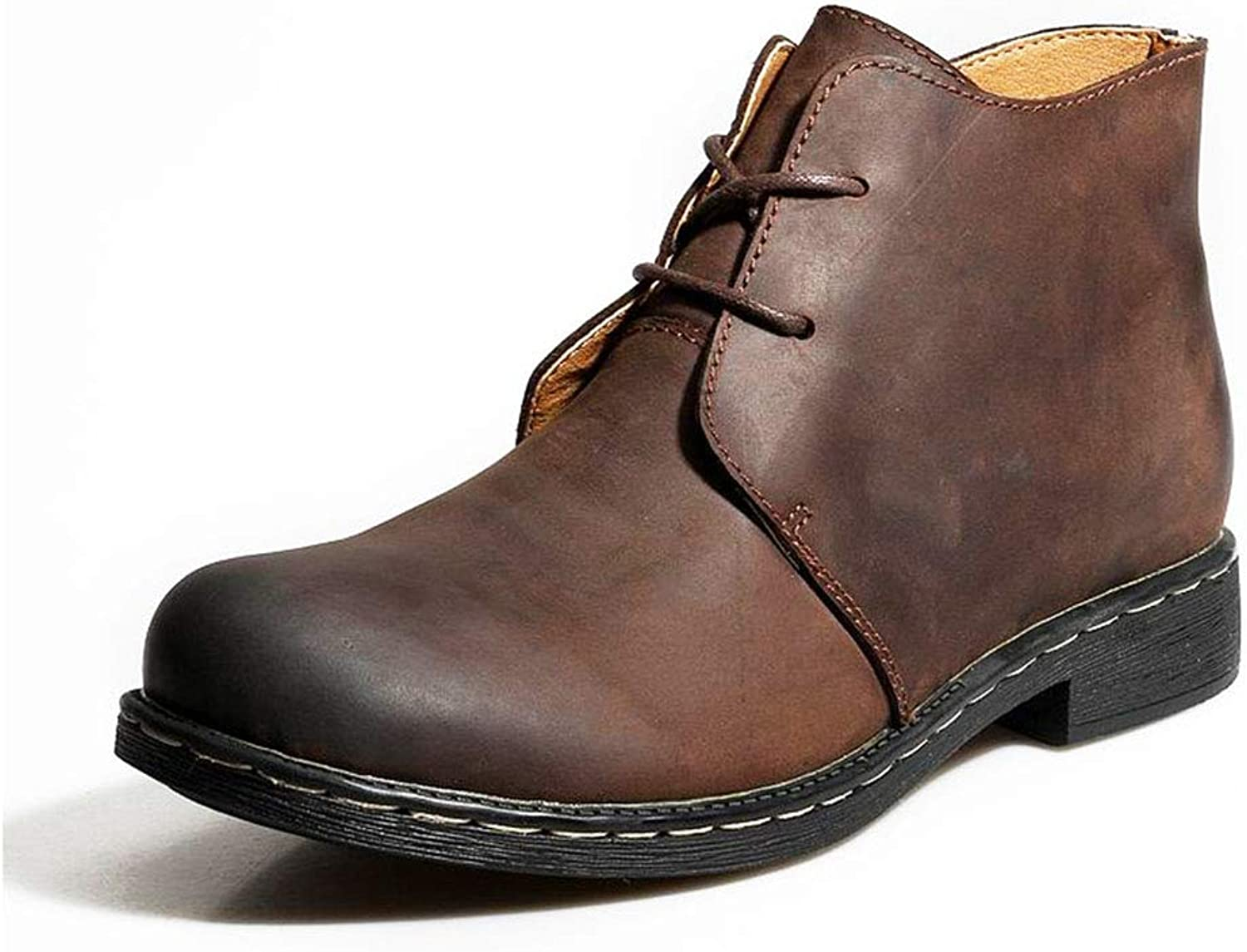 Men's Martin Boots, Fall Winter Keep Warm Booties Plus Velvet High-top Leather Boots Men Outdoor & Travel Casual shoes (color   Brown Single shoes, Size   45)
