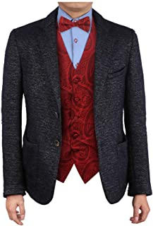 Epoint Men's Fashion Classic Paisley Microfiber Waistcoat Pre-tied Bow Tie Set
