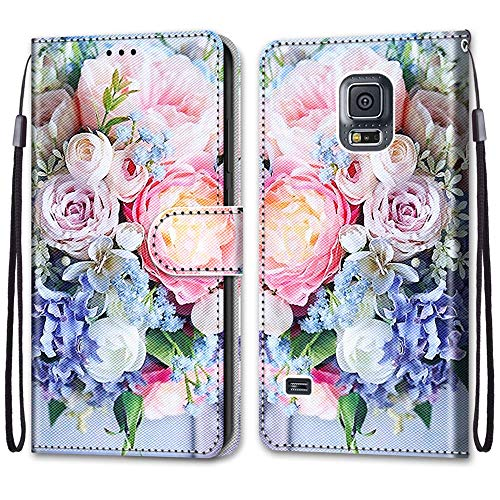 JMTALL Custodia per Samsung Galaxy S5 Flip Cover Libro Magnetica Portafoglio con Disegni Mazzi di Fiori Supporto Stand Slot per Schede Cover Protettiva for Galaxy S5/S5 Neo