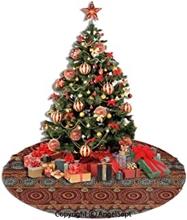 SfeatrutMAT Christmas Tree Skirt,Primitive,Aboriginal Patterns with Lace Round Line Floral Circles Australian Art Image,Orange Brown,36inches,Xmas Holiday Decorations Tree Ornaments Indoor Outdoor