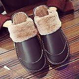 Pantuflas Hombre,Zapatillas para Hombre Invierno Marrón Oscuro Cuero De La PU Costura Cierre De Felpa Suave Y Cálido Piso Zapatilla Zapatillas Mullidas Lavables Antideslizantes Interiores Zapatos