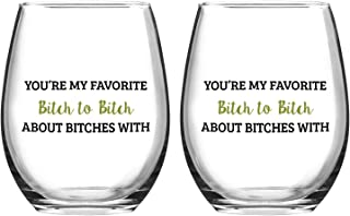 Set of 2 Wine Glasses You're My Favorite Stemless Wine Glasses Girls Bachelorette Party or Best Friend Gift Christmas Birthday Gift for Women 15 Oz