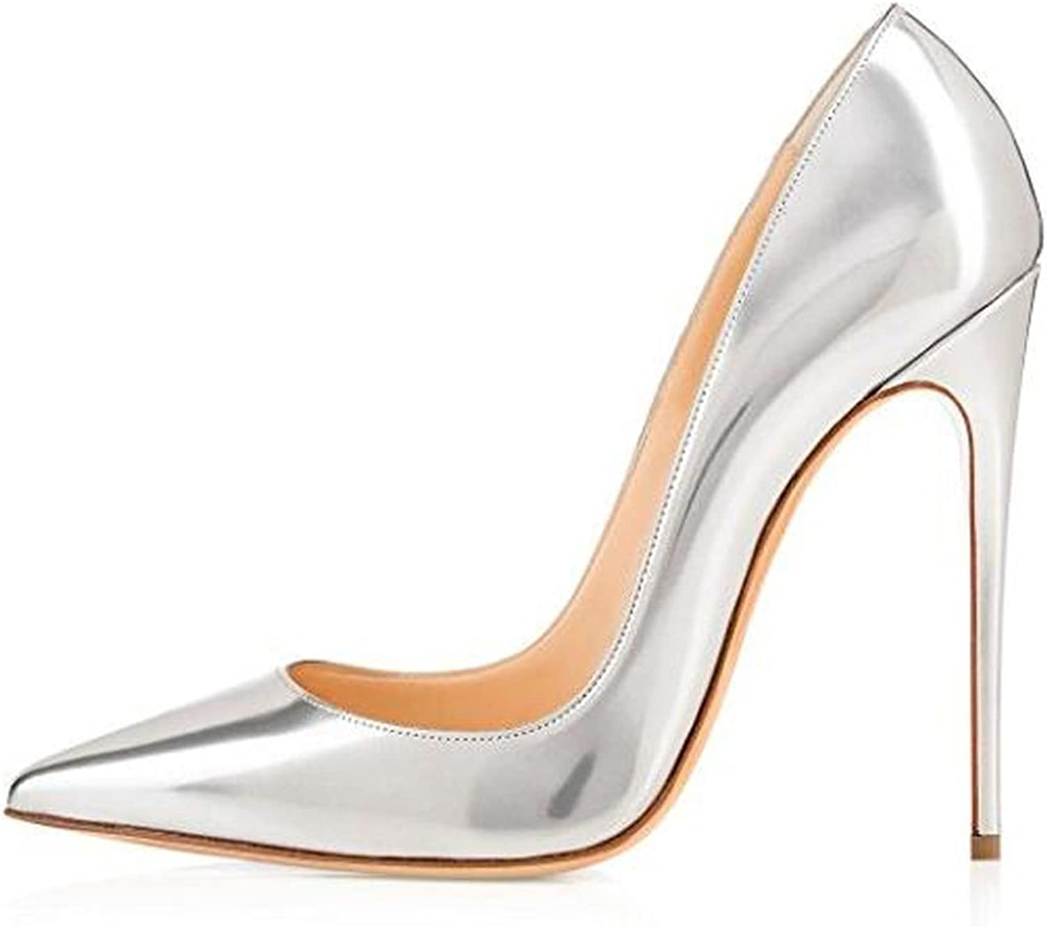 Women 10Cm Black Stilettos Heels Sexy Pointed Toe White Pumps Heels for Ladies Size 6-12